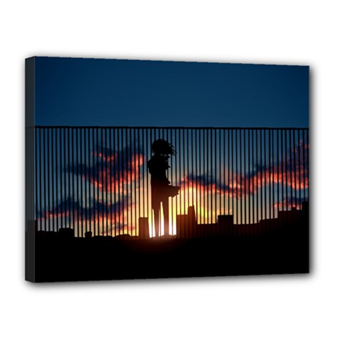Art Sunset Anime Afternoon Canvas 16  X 12  by Sapixe