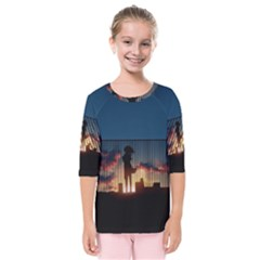 Art Sunset Anime Afternoon Kids  Quarter Sleeve Raglan Tee
