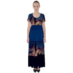 Art Sunset Anime Afternoon High Waist Short Sleeve Maxi Dress