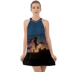 Art Sunset Anime Afternoon Halter Tie Back Chiffon Dress by Sapixe