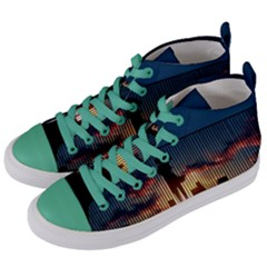 Art Sunset Anime Afternoon Women s Mid Top Canvas Sneakers by Sapixe