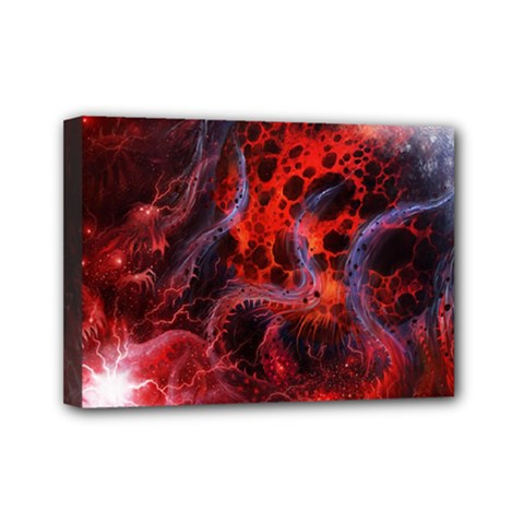 Art Space Abstract Red Line Mini Canvas 7  X 5  by Sapixe