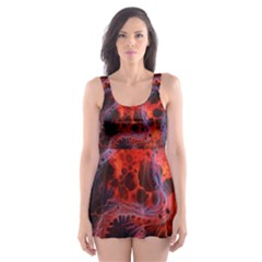 Art Space Abstract Red Line Skater Dress Swimsuit