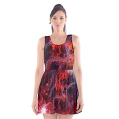 Art Space Abstract Red Line Scoop Neck Skater Dress by Sapixe