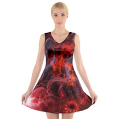 Art Space Abstract Red Line V Neck Sleeveless Skater Dress by Sapixe