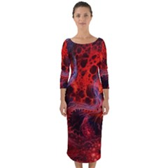 Art Space Abstract Red Line Quarter Sleeve Midi Bodycon Dress