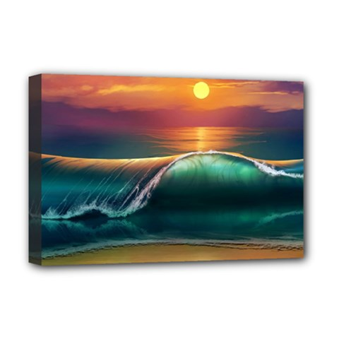 Art Sunset Beach Sea Waves Deluxe Canvas 18  X 12   by Sapixe