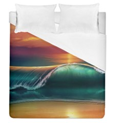 Art Sunset Beach Sea Waves Duvet Cover (queen Size) by Sapixe