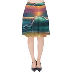 Art Sunset Beach Sea Waves Velvet High Waist Skirt