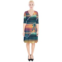 Art Sunset Beach Sea Waves Wrap Up Cocktail Dress