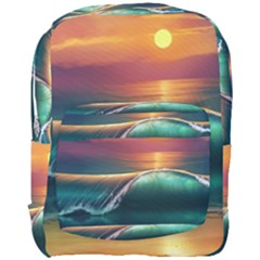Art Sunset Beach Sea Waves Full Print Backpack by Sapixe