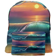 Art Sunset Beach Sea Waves Giant Full Print Backpack by Sapixe