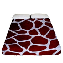 Skin1 White Marble & Red Grunge (r) Fitted Sheet (queen Size)