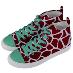 Skin1 White Marble & Red Grunge (r) Women s Mid Top Canvas Sneakers by trendistuff