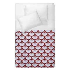 Scales3 White Marble & Red Grunge (r) Duvet Cover (single Size) by trendistuff