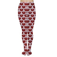Scales3 White Marble & Red Grunge Women s Tights