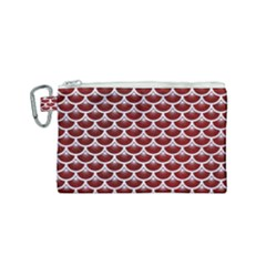 Scales3 White Marble & Red Grunge Canvas Cosmetic Bag (small) by trendistuff