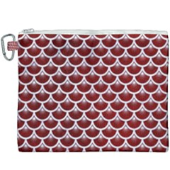 Scales3 White Marble & Red Grunge Canvas Cosmetic Bag (xxxl)
