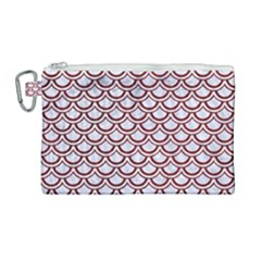 Scales2 White Marble & Red Grunge (r) Canvas Cosmetic Bag (large) by trendistuff