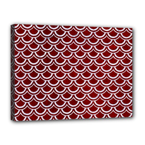 Scales2 White Marble & Red Grunge Canvas 16  X 12  by trendistuff