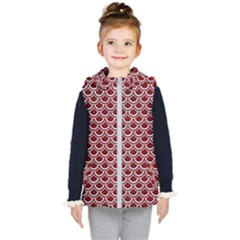 Scales2 White Marble & Red Grunge Kid s Hooded Puffer Vest