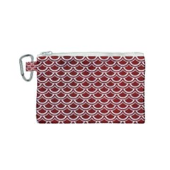 Scales2 White Marble & Red Grunge Canvas Cosmetic Bag (small) by trendistuff
