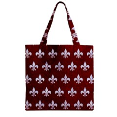 Royal1 White Marble & Red Grunge (r) Zipper Grocery Tote Bag by trendistuff