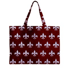 Royal1 White Marble & Red Grunge (r) Zipper Mini Tote Bag by trendistuff