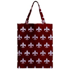 Royal1 White Marble & Red Grunge (r) Zipper Classic Tote Bag by trendistuff