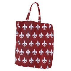 Royal1 White Marble & Red Grunge (r) Giant Grocery Zipper Tote by trendistuff