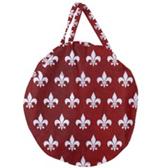 Royal1 White Marble & Red Grunge (r) Giant Round Zipper Tote by trendistuff