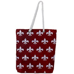 Royal1 White Marble & Red Grunge (r) Full Print Rope Handle Tote (large) by trendistuff