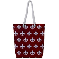 Royal1 White Marble & Red Grunge (r) Full Print Rope Handle Tote (small) by trendistuff