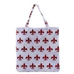 Royal1 White Marble & Red Grunge Grocery Tote Bag by trendistuff