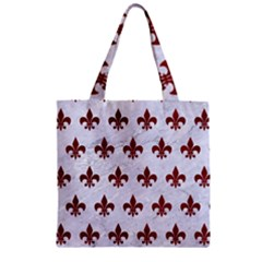 Royal1 White Marble & Red Grunge Zipper Grocery Tote Bag by trendistuff