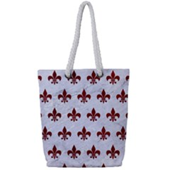 Royal1 White Marble & Red Grunge Full Print Rope Handle Tote (small) by trendistuff