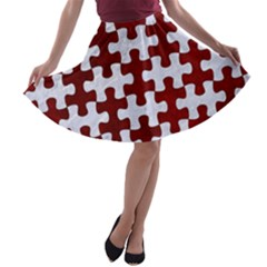 Puzzle1 White Marble & Red Grunge A Line Skater Skirt