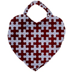Puzzle1 White Marble & Red Grunge Giant Heart Shaped Tote
