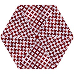 Houndstooth2 White Marble & Red Grunge Mini Folding Umbrellas by trendistuff