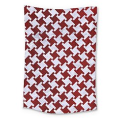 Houndstooth2 White Marble & Red Grunge Large Tapestry by trendistuff
