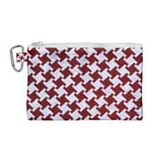 Houndstooth2 White Marble & Red Grunge Canvas Cosmetic Bag (medium) by trendistuff