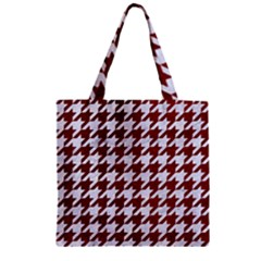Houndstooth1 White Marble & Red Grunge Zipper Grocery Tote Bag by trendistuff