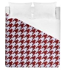 Houndstooth1 White Marble & Red Grunge Duvet Cover (queen Size) by trendistuff
