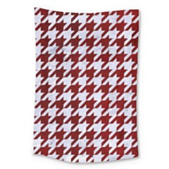 Houndstooth1 White Marble & Red Grunge Large Tapestry by trendistuff