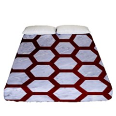 Hexagon2 White Marble & Red Grunge (r) Fitted Sheet (queen Size) by trendistuff