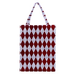 Diamond1 White Marble & Red Grunge Classic Tote Bag by trendistuff