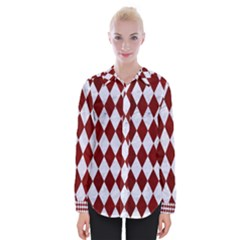 Diamond1 White Marble & Red Grunge Womens Long Sleeve Shirt by trendistuff