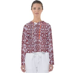 Damask2 White Marble & Red Grunge (r) Women s Slouchy Sweat by trendistuff