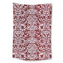 Damask2 White Marble & Red Grunge Large Tapestry by trendistuff