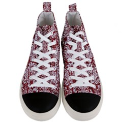 Damask2 White Marble & Red Grunge Men s Mid Top Canvas Sneakers